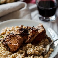 Pork with Mushroom Risotto
